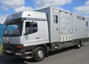 15 Ton Mercedes Benz Atego Twin sleeper cab. Professional E.H Hutton transport truck. Stalled for 8. Side and rear ramp