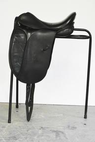 Black leather dressage saddle 17 inch
